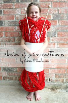 a DIY skein of yarn costume for halloween