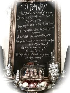 "Holiday chalkboard - ""Fall on your knees"" - oh I love that line in this beautiful christmas carol."