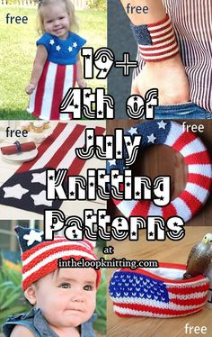 Knitting patterns for the Fourth of July or celebration of America. Featuring patterns offlag  motifs, stars and stripes,and Americana themes. Most patterns are free