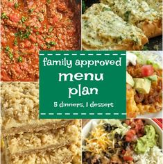 Family menu plan that everyone will love! These have all been kitchen tested over and over again, and will help you get dinner on the table. Easy, family approved, simple ingredients, and delicious food to enjoy together. Family Meal Planning, Menu Planning, Family Meals, Family Recipes, Easy Healthy Recipes, Easy Dinner Recipes, Easy Meals, Inexpensive Meals, Freezer Meals