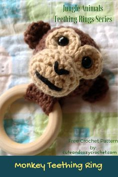 Who's ready for another teething ring? This is the second in the five teething rings you'll see in my Jungle Animals Teething Rings Series: The Monkey Teething Ring. I am incredibly proud of this pattern. Easy Crochet Patterns, Amigurumi Patterns, Baby Patterns, Crochet Ideas, Crochet Toys, Free Crochet, Crochet Animals, Wooden Teething Ring, Yarn Inspiration