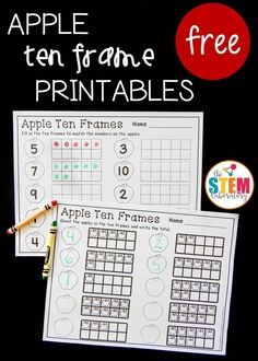 Free apple ten frame sheets! Fun number recognition and counting activity for preschool or kindergarten this fall.