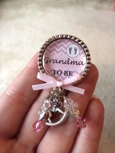 Grandma to be pin, Baby Girl, Personalized Gift, Baby Shower, First Baby, Pregnancy Announcement, Baby Feet, Rocking Horse Charm, Pink on Etsy, $12.50