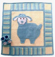 Lullaby Lambs Baby Blanket & Booties [CV031] - $7.99 : Maggie Weldon, Free Crochet Patterns