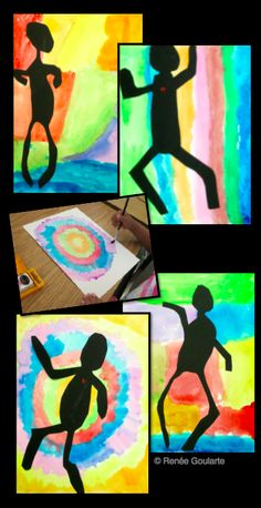 People Silhouettes - Easy art lesson that combines watercolor background with stylized human figure silhouettes. Fun and colorful, with almost no prep!