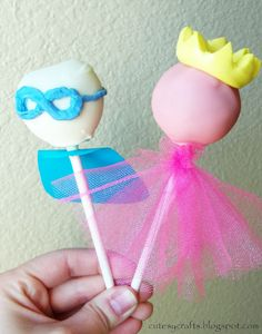 Superhero and Princess Cake Pops! So cute!! Not to mention, the perfect size for the lil' kiddies. :)