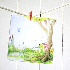 Postkarte+Frosch+am+See+von+Tartuffoli+auf+DaWanda.com