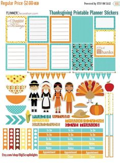 INDSD SALE Thanksgiving Autumn Days Printable Planner Stickers #1Orange, Teal. Yellow Fall Colors November