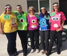 Class Dojo Monsters Do you need some ideas for your school Halloween costume? Teachers from all over share their practical & appropriate team Halloween costume ideas! Teacher Halloween Costumes Group, Halloween School Treats, Theme Halloween, Cute Halloween Costumes, Easy Halloween, Halloween Halloween, Vintage Halloween, Teacher Book Character Costumes, Halloween Makeup