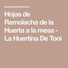 Hojas de Remolacha de la Huerta a la mesa - La Huertina De Toni