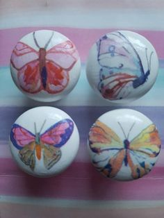 Shabby Chic Drawer Knobs, Chicken Minis, Wooden Drawers, Emma Bridgewater, Vintage Rock, Wooden Spoons, Beauty And The Beast, Butterflies, Hand Painted