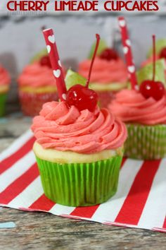 These Cherry Limeade Cupcakes taste like a dream with bright flavours - everyone will be asking for your cupcake recipe!