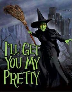 Wizard of Oz - Wicked Witch I'll Get You My Pretty Movie Tin Sign Movies Tin Sign - 32 x 41 cm Wizard Of Oz Witch, Wizard Of Oz 1939, Wicked Witch, Wizard Of Oz Movie, Scarecrow Wizard Of Oz, Wizard Of Oz Decor, Wizard Of Oz Characters, Evil Witch, Dark Beauty