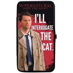 Supernatural Lady's Bifold Hinge Wallet Castiel I'LL INTERROGATE THE... ($25) ❤ liked on Polyvore