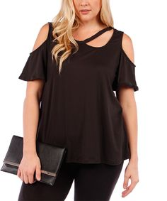 Love this Black Strappy Shoulder-Cutout Top - Plus by Yummy on #zulily! #zulilyfinds