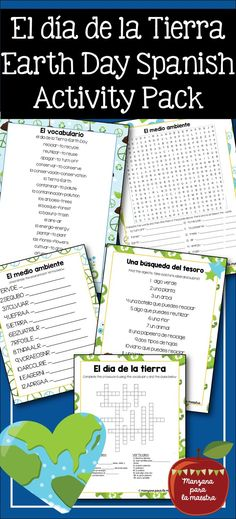 El dia de la Tierra Spanish activity puzzle pack. Fun activity, homework or fast finisher for your secondary classroom. Use it in an environment unit to review el medio ambiente vocabulary.