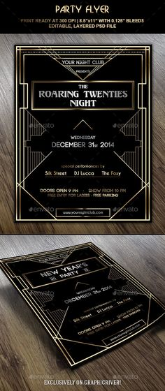 Party Flyer inspired by 1920's - Roaring Twenties, the era of luxury and glamour.