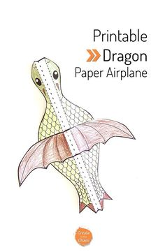 Easy printable kids craft - flying dragon paper airplane. Plus lots of other free printable papercrafts here www.createinthech...