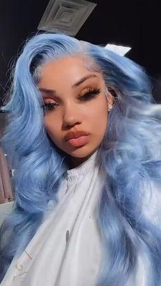 Black Girl Braided Hairstyles, Baddie Hairstyles, Weave Hairstyles, Pretty Hairstyles, Cute Hair Colors, Pretty Hair Color, Blue Hair Black Girl, Birthday Hairstyles, Hair Laid