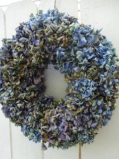 Hydrangea Wreath  Dried Wreath  Dried Hydrangeas  Shabby Chic