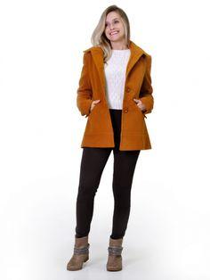 Resultado de imagem para casacos femininos de lã batida de capuz