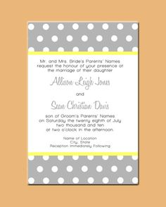Polka dot Wedding Invitation Set by limeexpressions on Etsy.  Navy with gray print and orange strip