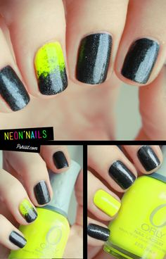 Love the black nails with the one neon nail