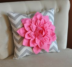 Pink Dahlia on Gray and White Zigzag Pillow Chevron by bedbuggs, $35.00
