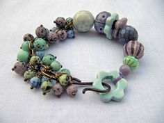 Great czech glass and ceramic bracelet from something to do with your hands - great color combo!