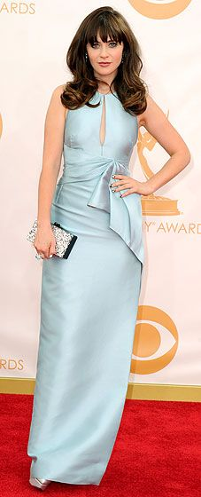 Zooey Deschanel: 2013 Emmy Awards in a light blue sleeveless column gown with keyhole cutout by J. Mendel and a clutch by Edie Parker. Very 60's style!