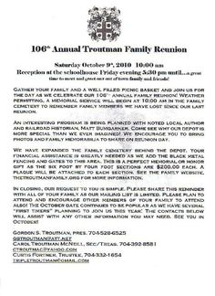 printable example of family reunion program click here to print 2010 troutman reunion letter