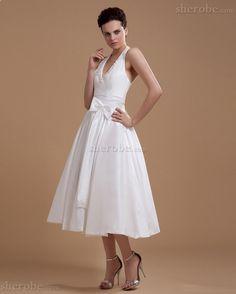 Robe de mariée naturel textile taffetas avec sans manches appliques branle - Photo 3