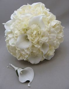Real Touch Peonies Calla Lily Hydrangea Bridal Bouquet Wedding Flowers