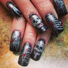 Skeleton by crystal_marie - Nail Art Gallery nailartgallery.nailsmag.com by Nails Magazine www.nailsmag.com #nailart