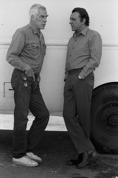 American actor Lee Marvin and British actor Richard Burton star in 'The Klansman' directed by Terence Young in California,