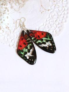 Summer Butterfly Earrings  Red Green Transparent by YaTomkaStore