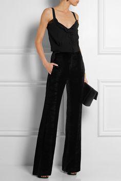 Sonia Rykiel|Silk satin-trimmed velvet flared pants|NET-A-PORTER.COM