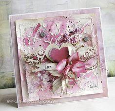Dzisiaj słodko i cukierkowo   za sprawą bardzo różowych kartek walentynkowych.      W Galerii Papieru  znajdziecie świetne różowe papiery...