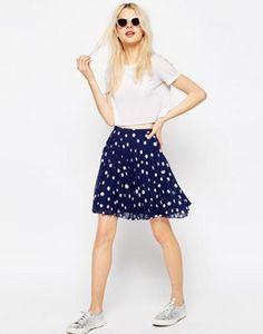 ASOS Pleated Mini Skirt in Polka Dot