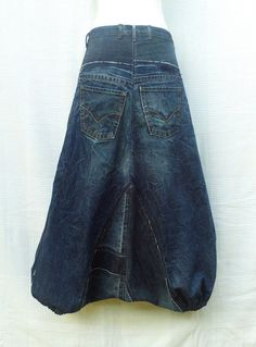 Dark blue Harem pants in patchwork of recycled jeans by DLFine
