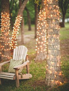 There's a reason people use this effect at weddings. It's pretty much the epitome of romance! #design #backyard #fairylights