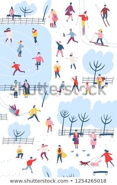 Tiny people dressed in winter clothes or outerwear performing outdoor activities at city park - walking, ice skating, skiing, building snowman. Colorful vector illustration in flat cartoon style. Winter Illustration, People Illustration, Christmas Illustration, Children's Book Illustration, Book Illustrations, Winter Dresses, Winter Outfits, Winter Clothes, Winter Activities