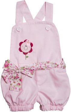 Roupas de Bebê - Jardineira para Bebê Pequena Flor - Cod. 4075 4075 - Unica - Roupas de Bebe | Enxoval de Bebe | Loja de Bebe - Cegonha Encantada - Roupa Bebe |Infantil | Cegonha Encantada