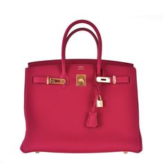 Hermes 35cm Birkin Bag Red Rubis Togo leather GHW INSANE COLOR! JaneFinds   From a collection of rare vintage top handle bags at https://www.1stdibs.com/fashion/handbags-purses-bags/top-handle-bags/