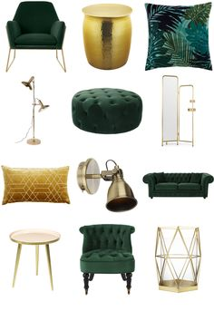 View the Luxe Green and Gold Living Room Inspiration Board by Furnishful for gre. View the Luxe Green and Gold Living Room Inspiration Board by Furnishful for great Living Room Ideas Bohemian Living Rooms, Living Room Green, Green Rooms, Home And Living, Living Room Decor Green, Cottage Living, Modern Living, Living Spaces, Home Design