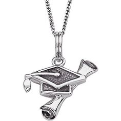 Graduation Cap and Diploma Sterling Silver Pendant, 18""