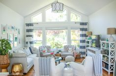 Coastal Style Blue and White Living Room Lakehouse Living Room Makeover Reveal for the One Room Challenge -1