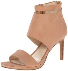 Nine West Women's Magicmomnt Nubuck Heeled Sandal. Bootie-inspired pump with slight platform featuring open toe and cutout vamp. Zipper entry at heel cup.