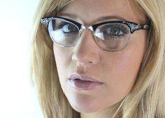 Vintage 50's 12K Black Aluminum Cat Eye Eyeglasses by Sorocco