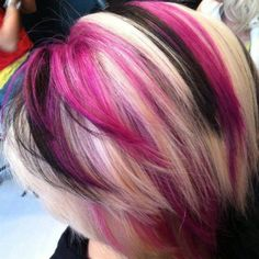 blonde with pink and black